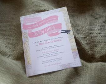 Travel Theme Invitation: baby shower, bridal shower, birthday party
