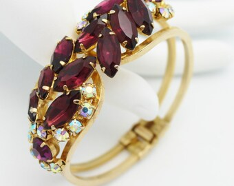 Juliana Clamper Bracelet Purple with Aurora Borealis Accents