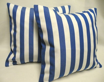 """Blue and White Stripe Accent Pillow Covers Nautical or Poolside Decor - Set of two 18"""" x 18"""" - Beach, Coastal Decor, Outdoor Pillowcovers"""