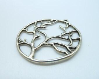 10pcs 40mm Antique Silver Filigree Round Tree Charm Pendant B272