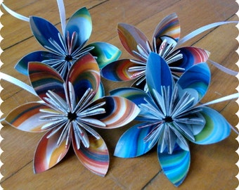 Recycled Magazine Paper Flower Ornaments, Painted Waves - Set of 4 - Eco Friendly Holiday