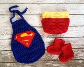 Superman Inspired Costume/Man of Steel Costume Cape, Boots and Diaper Cover Set in Newborn to 6 Month Size- MADE TO ORDER