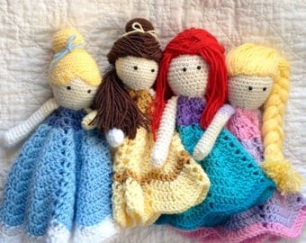 Princess Lovey/ Security Blanket/ Plush Doll/ Stuffed Toy Doll/ Soft Toy Doll/ Amigurumi Doll/ Frozen Doll-  MADE TO ORDER