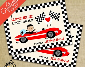 "Race Car Valentines (2.5""x3.5"") - Set of 10"