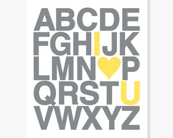 I Love You Alphabet Poster Nursery Decor Kids Wall Art ABC Poster Print Sizes: 5x7, 8x10, 11x14, 12x18, 13x19, 16x20, 18x24, 20x30, 24x36