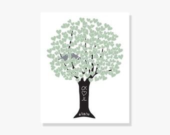 Personalized Anniversary Gift for Parents Tree Art Print Monogram Date Wedding Shower Bride Groom