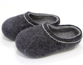 Hand Felted Slippers for Everyone.  Dark Gray with Light Gray inside.