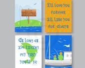 Baby Boy Nursery CANVAS ART, Gone Fishing Art Decor, Father Son fishing, Nautical Wall Decor in blue, orange, green 8x10 Gallery Wrap