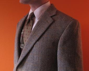 Plaid Harris Tweed Jacket sz 43 Long