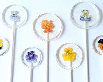 Viola Pansy Flower Lollipops 6 pieces