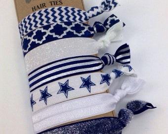 Dallas Cowboys Hair Ties Navy Blue Silver White Hair Ties elastic Yoga Bands