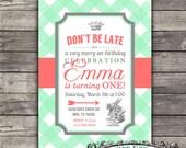 Alice in wonderland birthday invitation--customizable