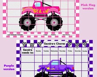 Printable Personalized Children's Chore/Reward Chart - Monster Trucks***THREE VERSIONS***  Jpeg or PDF
