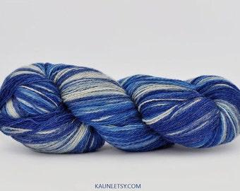 Kauni Wool Yarn, Self Striping, Blue and White Colorway