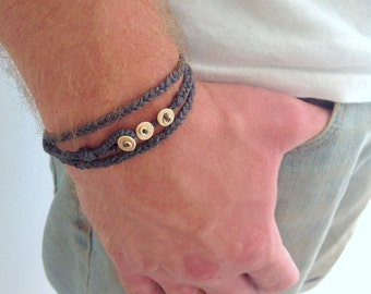 Men gift. Mens wrap bracelet. Triple wrap. Cotton fabric bracelet. Layered bracelet.