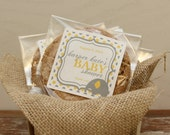 24 Personalized Cellophane Cookie Bags, Candy Bags - Elephant Label - ANY COLOR - Elephant Baby Shower Favor, Elephant Favor Bag