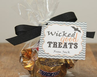 24 Mini Cellophane Halloween Party Favor Bags - Wicked Good Label - Halloween Treat Bags, Halloween Party Favors, Halloween Candy Bags