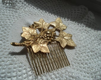 Vintage Art Deco Textured Gold Hair Comb Ivy Leaves Woodland Nature Inspired