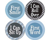 Baby's First Milestone Stickers, I Can Crawl, I Can Walk, First Tooth, First Word, First Smile, and More, Boys Monthly Stickers (B072-M