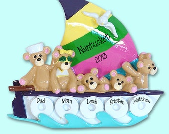 Belly Bear Family of 5 in Sailboat  Hand painted RESIN Personalized Christmas Ornament