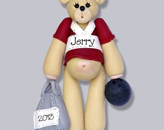 Belly Bear Bowler HANDMADE POLYMER CLAY Personalized Christmas Ornament