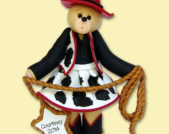 Belly Bear Cowgirl HANDMADE Polymer Clay Personalized Christmas Ornament