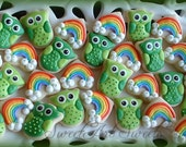 Owl and Rainbow cookies - St. Patricks Day - 2 dozen mini cookies