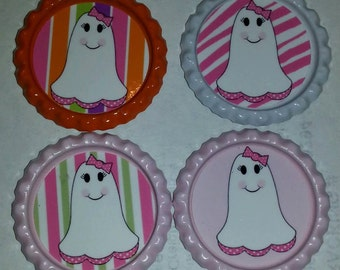 Pink Ghost theme bottle caps