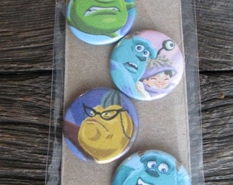 Monsters Inc. magnets.  Set of 4