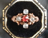 Antique Victorian Garnet and Moonstone Ring