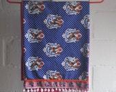 Girl long scarf - Bambi in Blue Polka Dots  (ready to ship)