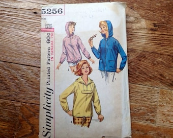 5 BUCKS Vintage simplicity 5256 Hooded Jacket, Parka, Hoodie 1960s Size 38 to 40 inch Bust