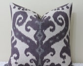 "Marrakesh Amethyst/Purple Ikat - 18"" - 24"" Square Sizes -  Decorative Designer Pillow Cover"