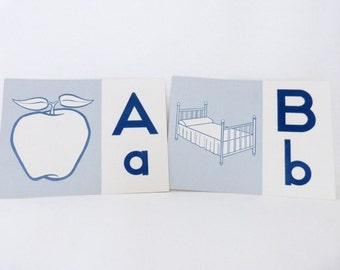 Vintage Alphabet Line // Vintage Alphabet Flashcards // Vintage Letters // Time for Phonics Touch and Learn // Blue White