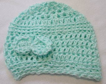Hand Crocheted Infant or Baby Beanie Hat in Mint