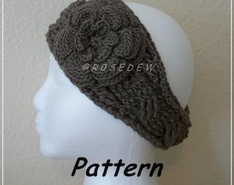 Instant Download to PDF Crochet PATTERN: Modified Twist Headband with Irish Rose