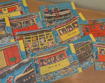 SALE Place Around Christmas Tree 12 STAND UP 3D Cardboard  Choo Choo Book Stories that Link 1940s  Julius the Galloping Engine Super  Cond