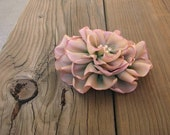 Pink to Green Ombre Cabbage Rose with Pearls – Vintage Style Ribbon Flower Pin Brooch – Wedding Prom
