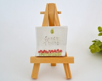 Green Thumb  -  2 x 2 Ceramic Tile With Easel