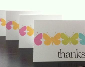 Thank You Cards -Butterflies (set of 8) - Hand Stamped