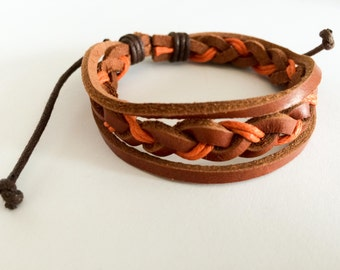 Orange hemp cord braided with Brown leather Bracelet