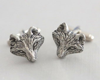 Jewelry Gift,Fox Cufflinks Silver Plated Metal Vintage Inspired Style Antiqued Finish Men's Cuff Links & Accessories