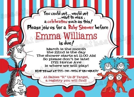 printable dr. seuss baby shower invitations for one baby, twins or, Baby shower