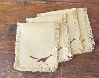 Vintage Road Runner Napkins Southwest Napkins Linen Napkins Vintage Linen Vintage 1960s
