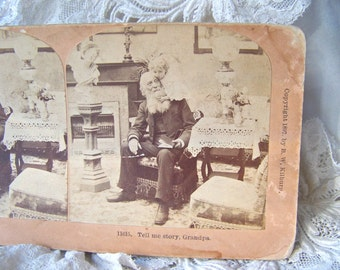 Antique Stereoview Card 3D Card Grandpa 1897 Stereograph Photo Stereoscope Tell Me a Story Grandpa