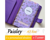 SIZE: A5 (Special Set / Top Tabs / Side Tabs) Paisley Personalised Dividers for Filofax Organizer Planner Agenda