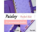 SIZE: POCKET  (Regular Set / Top Tabs / Side Tabs)  Paisley Personalised Dividers for Filofax Organizer Planner Agenda