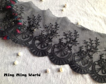 Cotton Net Lace Trim -3 Yards Black Lovely Flower Lace Trim (L153)