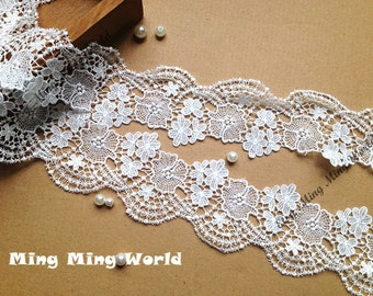 Venice Lace Trim - 2 yards Ivory  Flower Lace Trim (L196)