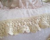 Antique Vintage Hand Crochet Needlelace Trim Craft Ruffle LA-3